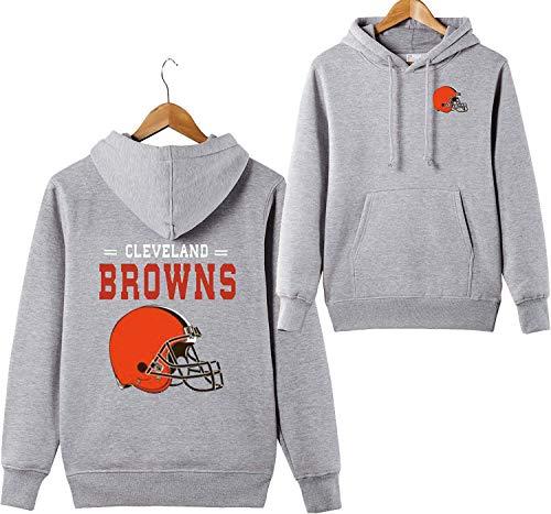 odies Cleveland Browns NFL Football Team Uniform Muster Digitaldruck Liebhaber Kapuzenpullis(XL,Grau) ()