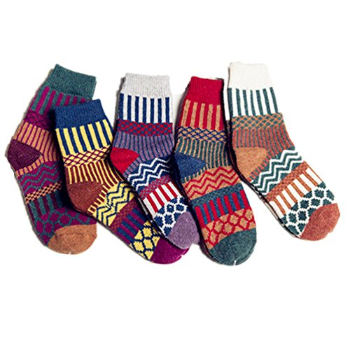 Deal of The Day Santwo Colorful Stripe Warm Wool Blend Knited Hold-up Boot Ankle Socks 1-5 Pairs Size - UK 4-7