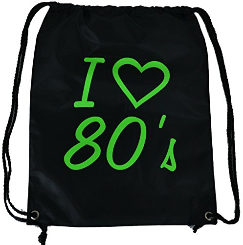 I Love the 80's Drawstring Bag with Green Lettering
