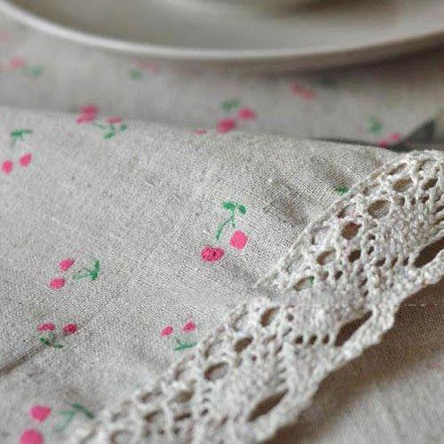 BLUELSS Kunst und Europäische Tischdecke aus Baumwolle Bettwäsche Tischdecke Tischdecken rechteckige Tischdecken Tuch, Kirsche, 90 * 90 cm. - Rechteckige Kirsche