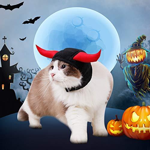 Hunde Teufel Kostüm - JuneJour Haustier Katze Kostüm Teufel Hörner Hut Dress Up Kopfbedeckung für Hund Welpen Halloween Party Dekoration