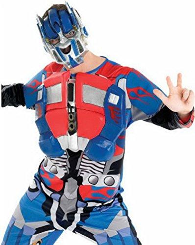 erdbeerloft - Herren Transformers Optimus Prime Kostüm - Ganzkörperanzug Muskelpanzer EVA Maske, blau rot, (Kostüm Erwachsene Prime Für Optimus)