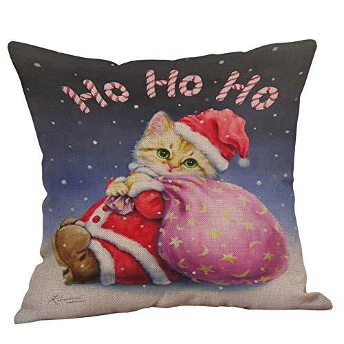 Zolimx Happy Christmas Kissenbezüge Leinen Sofa Weihnachtsdekoration Home Decor (Kissen ist Nicht inbegriffen)