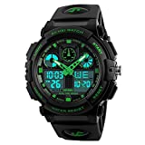 Amstt Unisex Sportuhren Digital Uhr Herren Damen Jungen Armbanduhr Militär Uhren mit Licht Wecker 5ATM Wasserdichten Outdoor Analog Digital Stoppuhr-Grün
