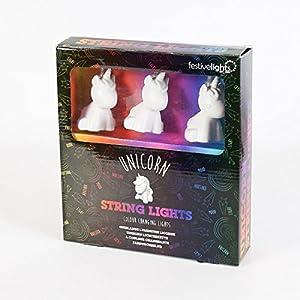 Guirlande Lumineuse 10 Mini Licornes Blanches à LED Éclairage Multicolore 1,70 Mètres à Piles [Exclusivité Festive Lights]