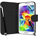 SUPERGETS Samsung Galaxy S5 Wallet Design Case, Screen Protector,Touch Screen Stylus And Polishing Cloth Black ( Not compatible to Galaxy S4, S3)