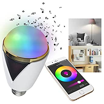 iegeek smart bluetooth led gl hbirne licht mit lautsprecher dimmbare mehrfarbige farbwechsel. Black Bedroom Furniture Sets. Home Design Ideas