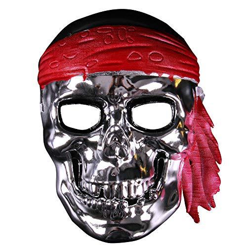 (Halloween Taro Warrior Maske Karibik Piraten Maske Horror Halloween Maske Retro Full Face Männer (Color : Silver))
