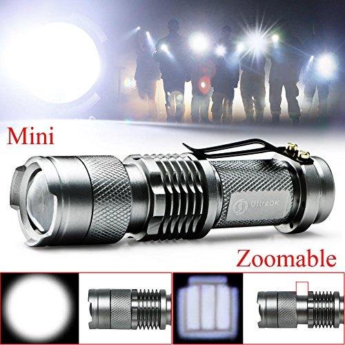Ebilun Q5 LED Lampe torche 1200 lumens fin, Neuf mise au point réglable Zoom in/out ultra Bright Lampe de poche pour la chasse Camping Randonnée Argent