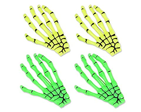 DSstyles Pince à cheveux 2 paires Hands Bone Halloween Pince à cheveux Accessoires squelettes pour les filles - Jaune et Vert