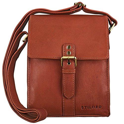 STILORD \'Kilian\' Vintage Umhängetasche Leder klein Unisex Messenger Bag für 8,4 Zoll Tablets Schultertasche Herren Damen echtes Leder, Farbe:Cognac - braun
