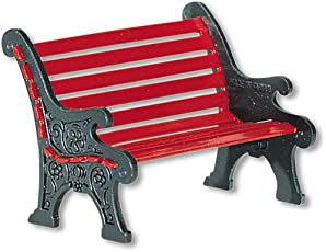 Department 56 Village Wrought Iron Park Bench (Red, 56.56445)