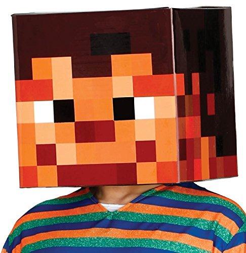 ER Pixel Handwerk Kopf Gaming Spiel Play Cosplay Halloween Karneval Welttag des Buches Woche mit Kapuze Kostüm Outfit Maske (Schule Themen-halloween-kostüme)