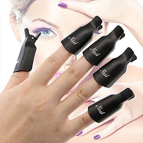 Contever 1 set di 10 Pezzi di Arte del Chiodo del Gel UV Polish Remover Soak Off Acrilico Clip Cap Wrap del Chiodo - Nero