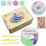 BESTZY Slime Fluffy Foam Clay - 4 Colores Arcilla mullida con Bolas de...