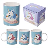 Puckator i Don't Believe in Humans Tazza Unicorno, Bone China, Azzurro