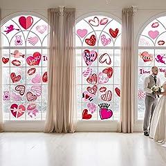 Idea Regalo - Sayala Vetrofanie Matrimoni Adesivi,48 Pezzi Adesivi per Finestra Cuori Colorati/Decalcomanie per Porte per Decorazioni di Addio al Nubilato di Compleanno