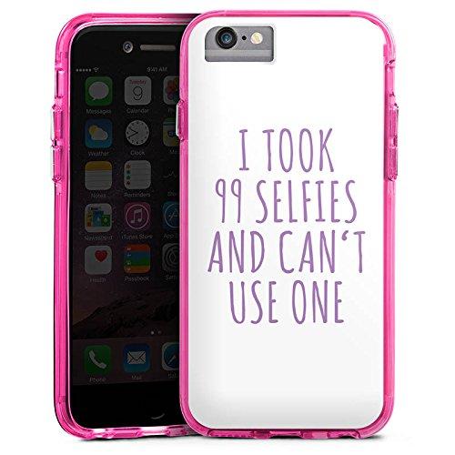 Apple iPhone 7 Bumper Hülle Bumper Case Glitzer Hülle Selfie Phrase Spruch Bumper Case transparent pink
