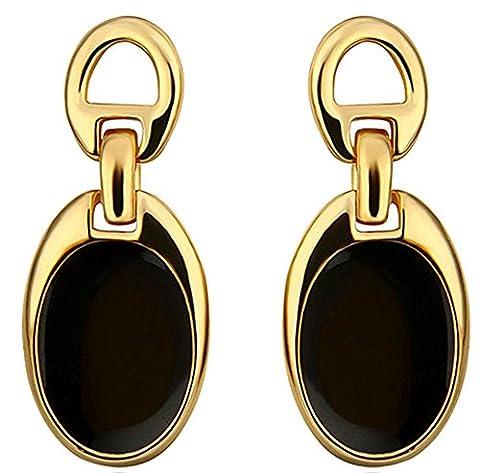 SaySureFR - 18K Gold Plated Drop Earrings,Stud Black Beans Earrings