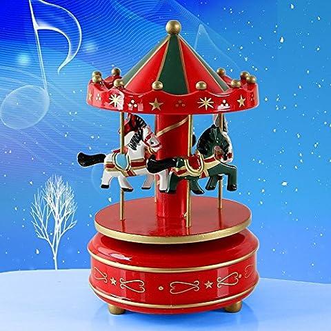 Lanlan Holz 4Pferd Drehkarussell Figur Musik Box Kinder Geburtstag Weihnachten Geschenke Spielzeug 1#, rot
