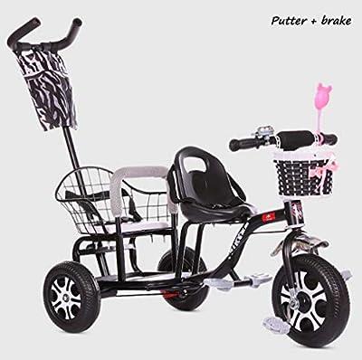 BABY STROLLER ZLMI Cochecito de bebé luz Doble Triciclo Bicicleta Plegable Pedal de Dos Pasos Ajuste de Asiento 1-6 años de Edad