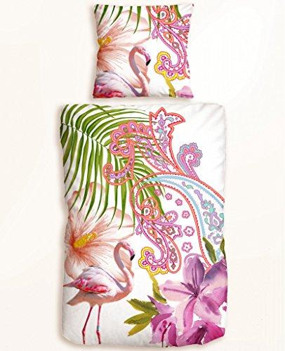 Trend Baumwolle Mako-Satin Digitaldruck Wendebettwäsche Collage Tropic, Größe:155×220 cm + 80×80 cm