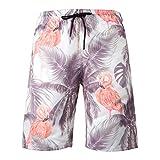 Dreamskull Herren Männer Strandhose Badeshorts Badehose Beachshorts Hawaii Hose Shorts Strand Surfen 3D Kurz Leicht Freizeit Urlaub Casual Bunt Blumen Große Größen S-3XL (3XL, Flamingo)