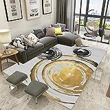 YCMXMY Home Alfombra De Diseño Tinta Manchada De Oro Ligera Y Reversible Multifunciona Lavable Base De Caucho 200X300Cm