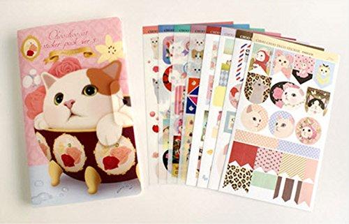 YPSelected 8 Blätter Netter Katzen Aufkleber Deco Craft Stempel Papier Aufkleber Geschenk (Cat Pink)
