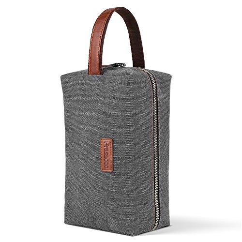 PRASACCO Kulturtasche  Kulturbeutel für Reise Wäschtasche Kosmetiktasche mit Leder Griff Unisex Make-up-Tasche Aufbewahrungstasche aus Segeltuch