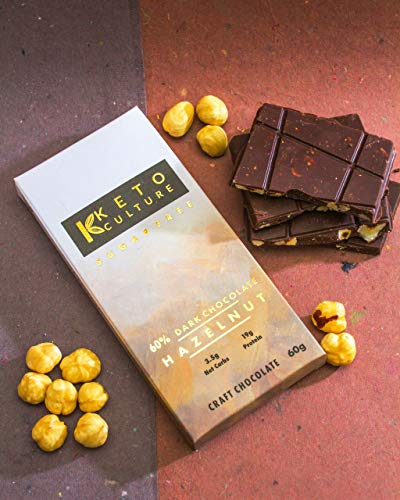 Nepenthe Coffee and Chocolates The Keto Sugar-Free Unsweetened Hazelnut Dark Chocolate, 60 g