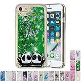 LA-Otter Coque Apple iPhone 6S 6 Liquide Paillette Silicone TPU Gel Bumper Bling Housse Etui Glitter Transparente avec Motif Antichoc - Pandas