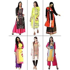 1 Stop Fashion Women's A-Line Kurta (Pack of 6)