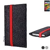 flat.design Handy Tasche Coimbra für Archos 55b Cobalt Lite passgenau Filz Schutz Hülle Case anthrazit rot fair