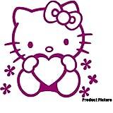 Hello Kitty 20 cm x 20 cm, Farbe: himbeer Kinderzimmer, Kind-Raum-Aufkleber Auto, Fenster und Wand Vinyl Aufkleber, Wand Windows-Art ThatVinylPlace Wandtattoo,