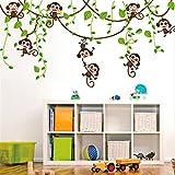 HALLOBO Wandtattoo Affe Schaukel Affen Wandaufkleber Monkey Wandsticker Kinderzimmer Kinder Baby