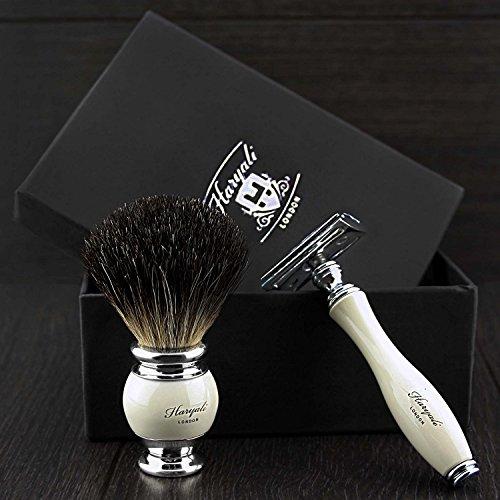 Bare rechange vintage Blade Safety Razor Badger Brosse Coffret cadeau Kit de rasage