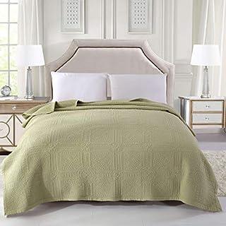Alicemall Tagesdecke Baumwolle Bettüberwurf 200x230cm Sofa Überwurf Gesteppt Steppdecke (200x230 cm, grün)