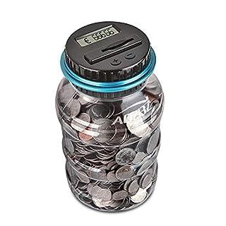 Digitale Piggy Bank EURO Counter, AOZBZ Automatische Münze Zählen Geld Box Sparschwein für Kinder und Erwachsene, Sichere Geld-Bank Münze Sparen Topf-Container mit LCD-Display und Große Kapazität