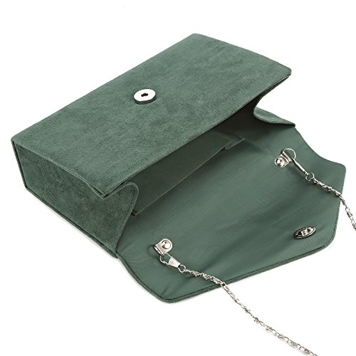 Borsetta Da Sera Donna Francesina In Suede Brida Borsa 7 Colori Verde Scuro