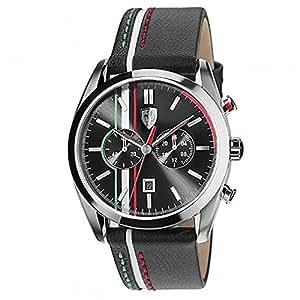 Ferrari - 0830237 - Montre Homme - Quartz - Analogique - Chronomètre - Bracelet cuir noir