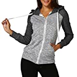 VEMOW Frauen Herbst Casual Täglichen Langarm Dünne Zip Kontrast Sport Im Freien Hood Hoodies Jacke Mantel(Schwarz, EU-40/CN-M)
