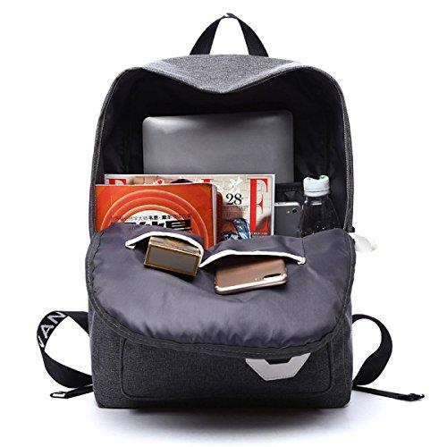 YUEER Männer Rucksack Geschäft Reise Gepäck Große Kapazität Freizeit Reisen Im Freien Wandern Schule Grey