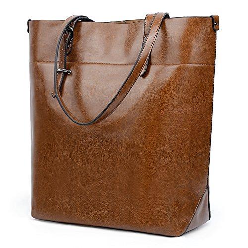 UTO Damen Shopper Tasche weich PU Leder Arbeit Schultertasches Gross Capacity Shopper Handtasche braun(Version 2)