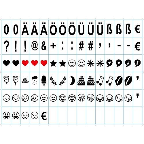 DE Lightbox emoji leuchtbox Buchstaben Buchstabe-Karte, schwarze Emojis und Zeichen für Lichtbox,6,6 x 3,6 cm (80 Stück) …