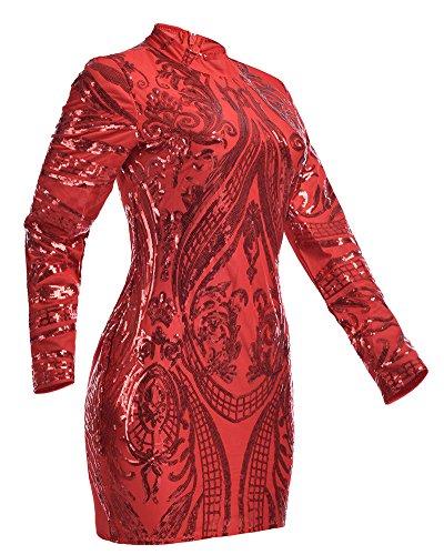 Damen Slim Kurze Pailletten Kleider Langarm Bodycon Kleid Mit Rundkragen Rot M - 4