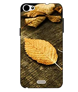 Case Cover Leaf Printed Yellow Soft Back Cover For LYF WATER 11