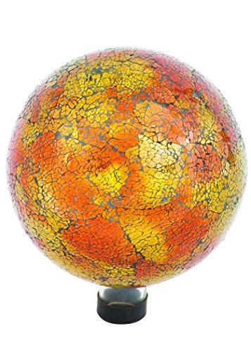 "Russco III GD137166 Glass Gazing Ball, 10"", Orange Mosaic Crackle"