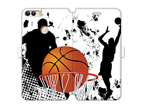 etuo Huawei P Smart - Hülle Wallet Book Fantastic - Basketball - Handyhülle Schutzhülle Etui Case Cover Tasche für Handy