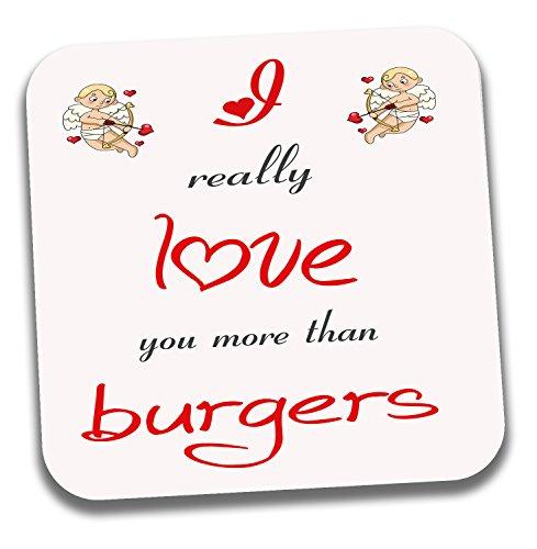 I love Burger Mottoparty Tee Kaffee Untersetzer-Valentinstag/Jahrestag/Geburtstag Geschenk für